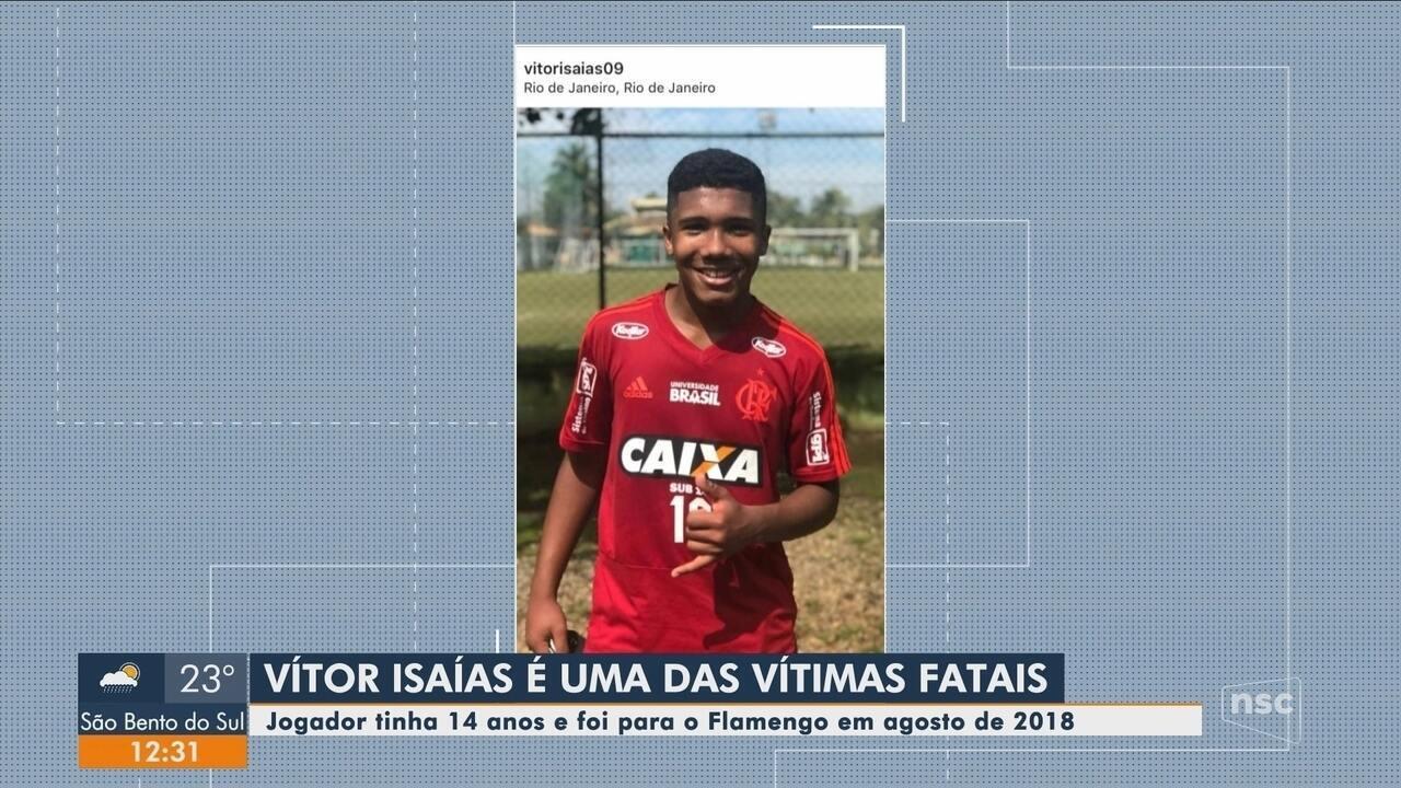 Catarinense Vítor Isaías foi uma das vítimas do incêndio no CT do Flamengo