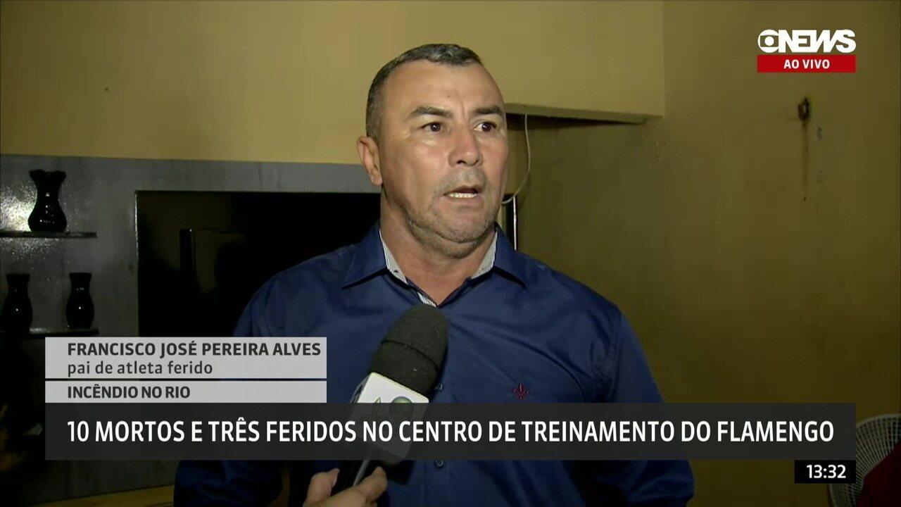"""Pai de atleta ferido relata aflição ao saber do acidente no Ninho do Urubu: """"Eu só pensava o pior"""""""
