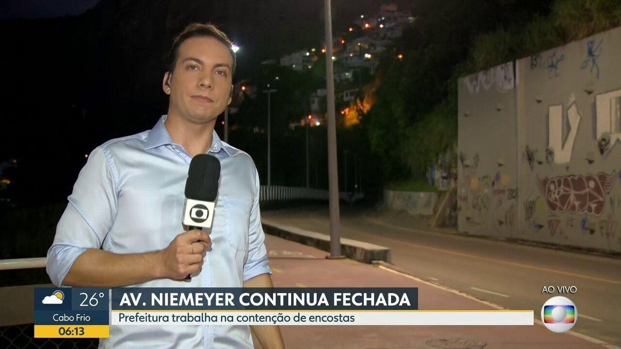 Avenida Niemeyer continua fechada após temporal