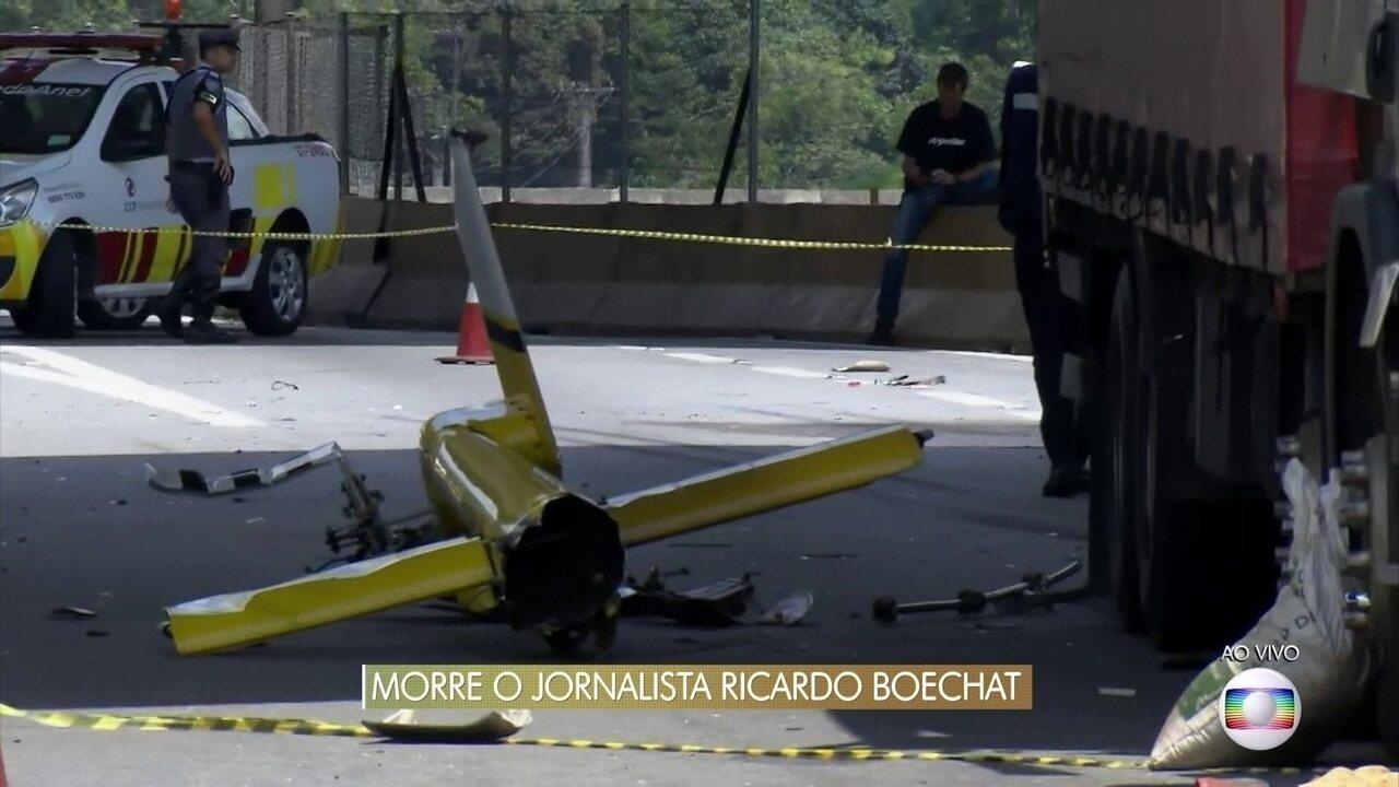 Peritos apuram as causas da queda do helicóptero que matou o jornalista Ricardo Boechat
