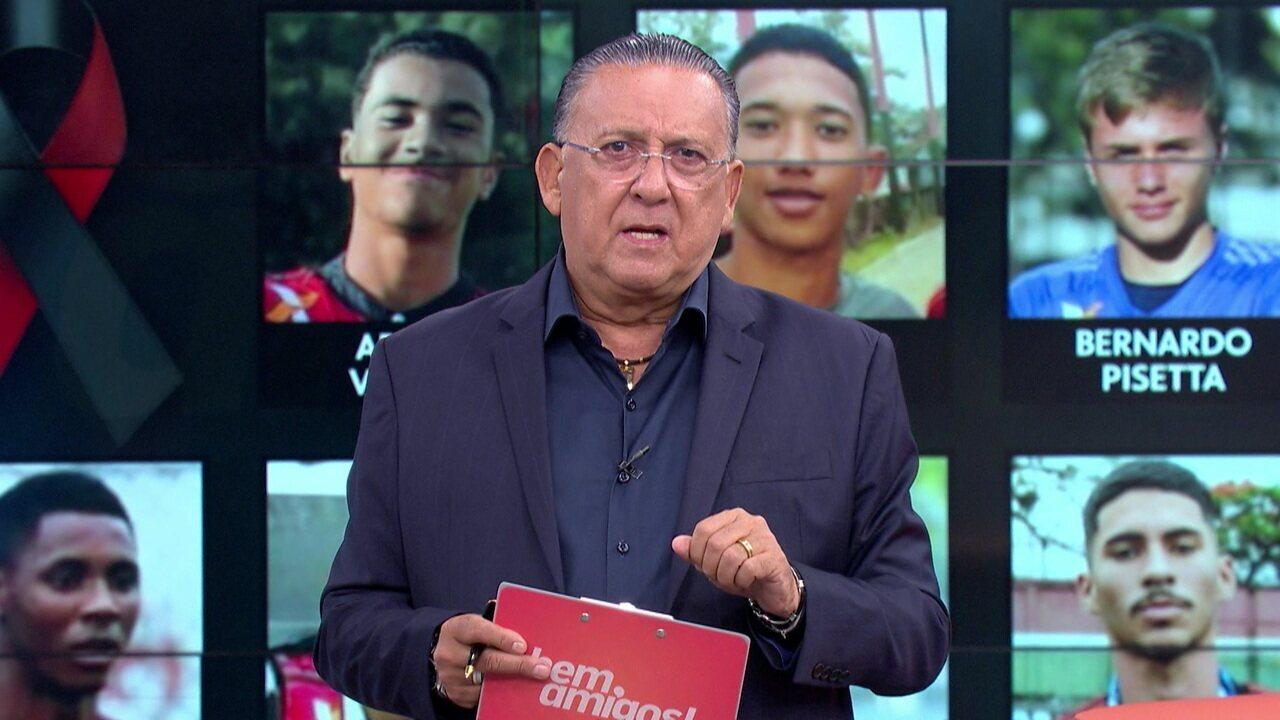 """Galvão Bueno fala sobre a tragédia no CT do Flamengo: """"Talvez o melhor verbo para usar seja lamentar"""""""