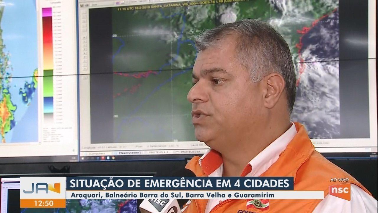Após chuva, 4 cidades catarinenses decretam situação de emergência