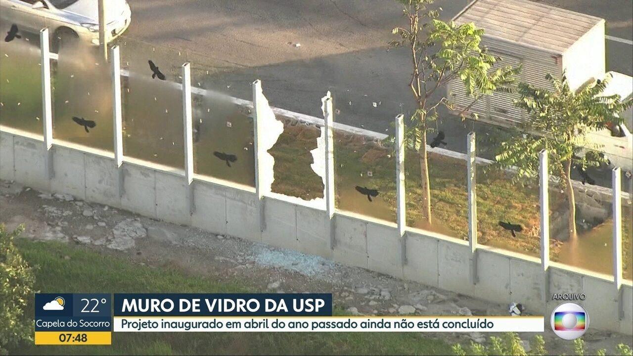Muro da raia da USP ja teve mais de 20 vidros quebrados