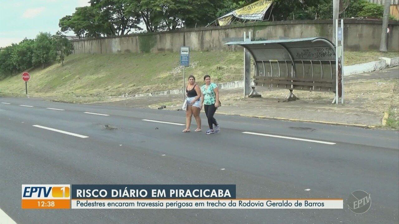 Pedestres encaram travessia perigosa em estrada de Piracicaba