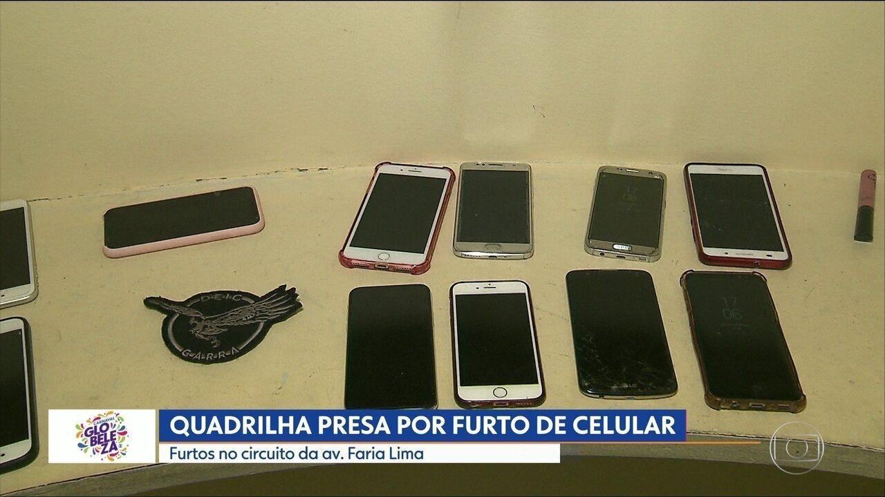 Quadrilha presa por furto de celular