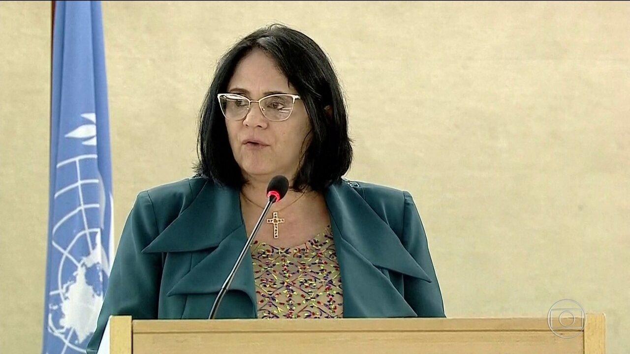 Em conselho da ONU, Damares pede fim da violência do regime de Maduro