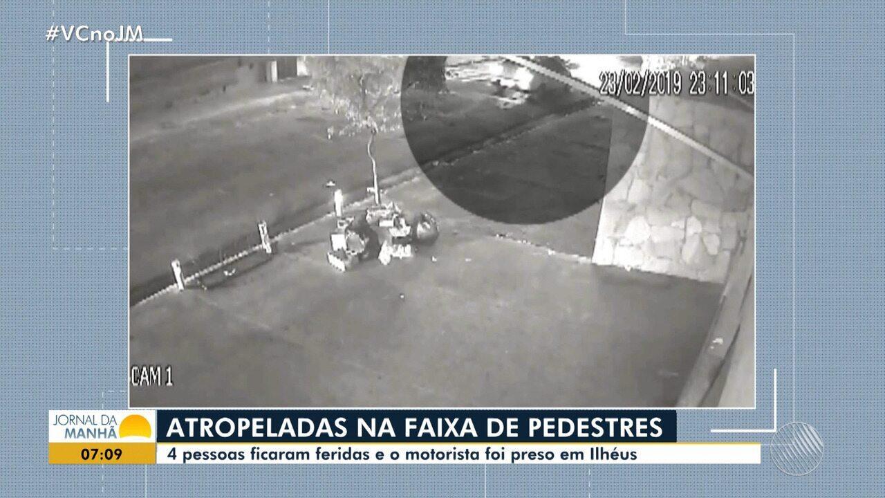 Quatro pessoas são atropeladas em faixa de pedestres de Ilhéus, no sul do estado