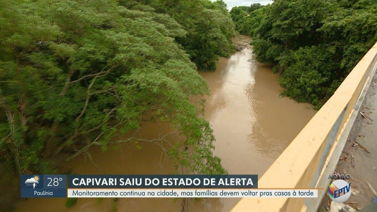Rio Capivari tem nível reduzido e cidade sai do estado de alerta