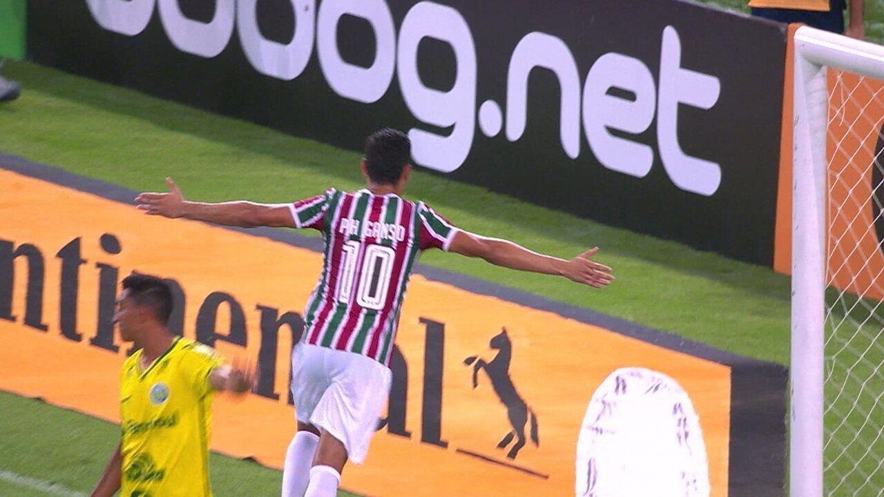 Gol do Fluminense! Digão toca de cabeça e Ganso marca de barriga, aos 12' do 2º tempo