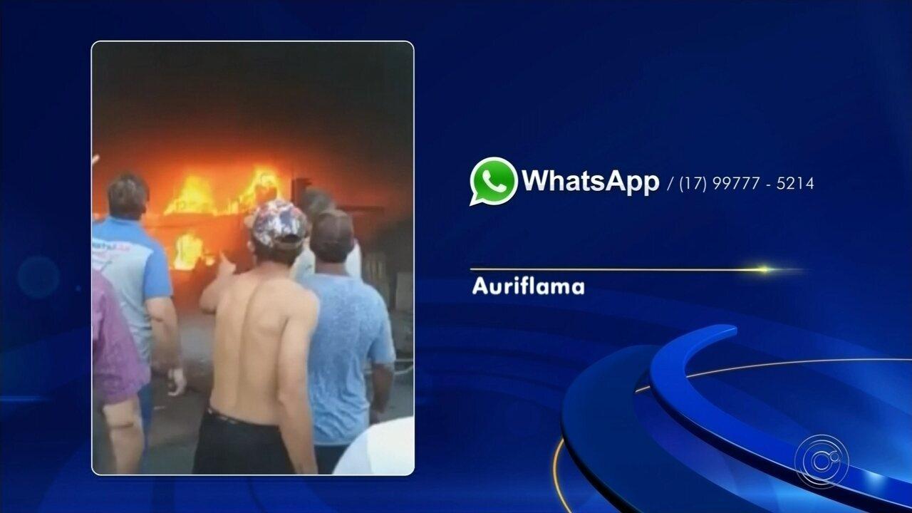 Loja de materiais de construção pega fogo em Auriflama