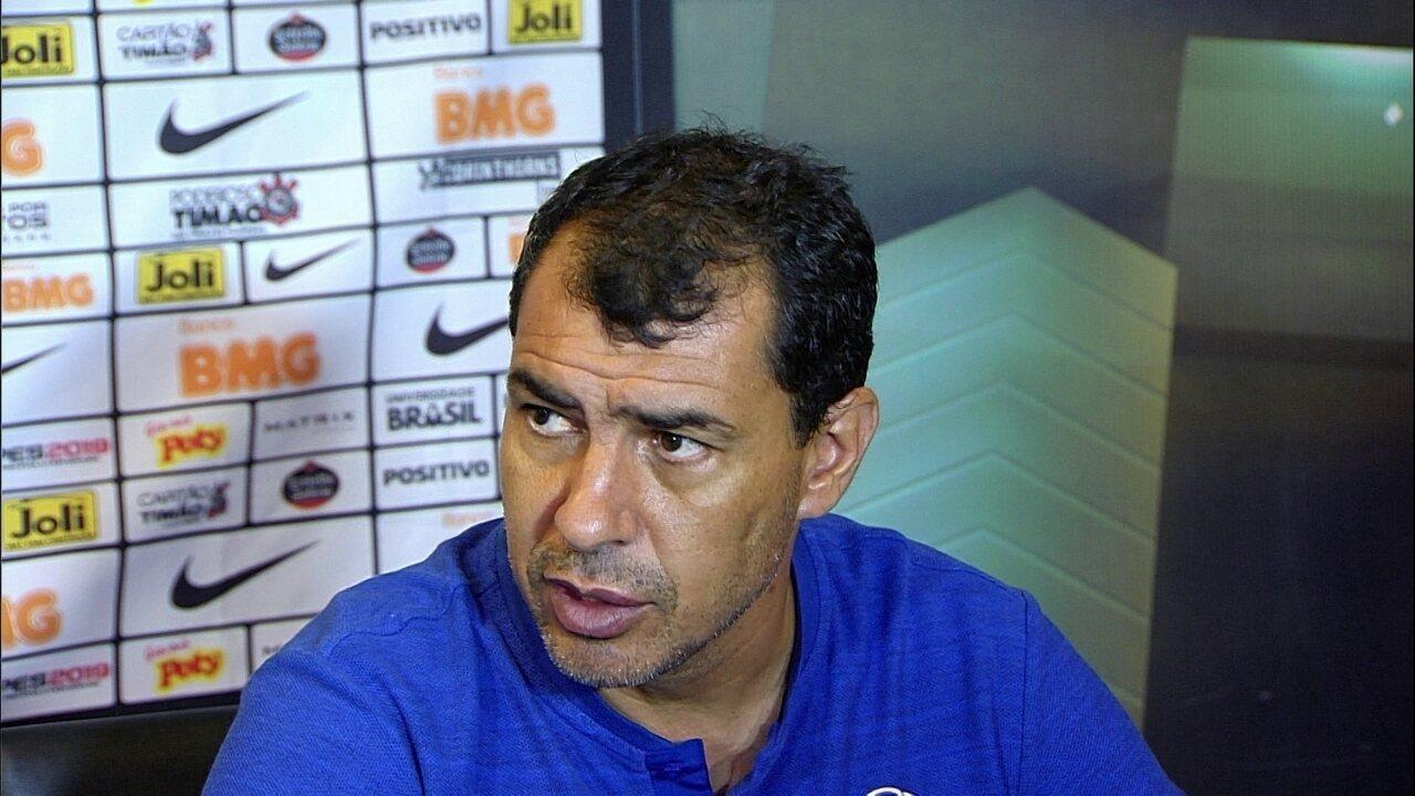 Veja trecho da entrevista de Fábio Carille, do Corinthians, após vitória sobre o Ceará