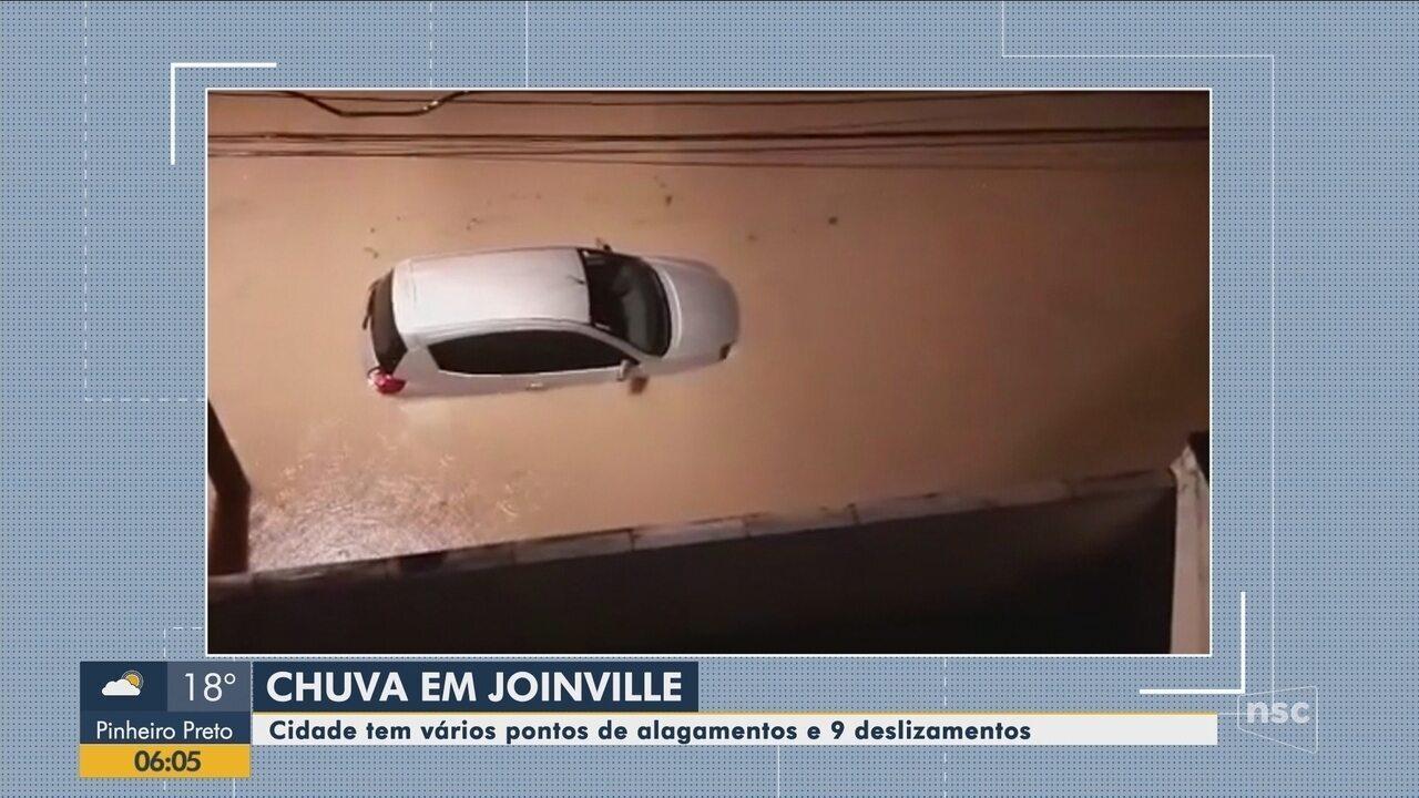 Alagamentos e deslizamentos são registrados em Joinville após temporal