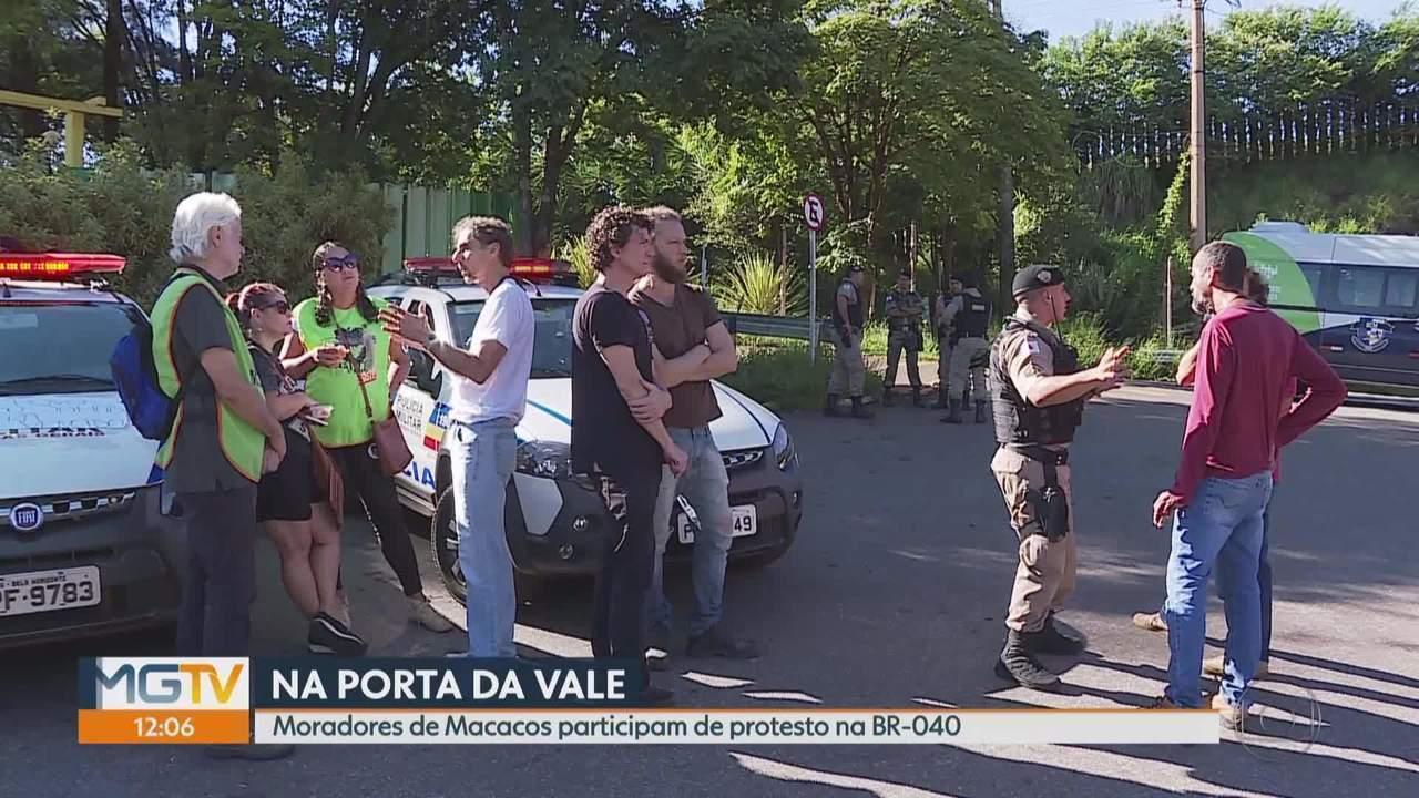 Moradores de Macacos fazem manifestação contra a Vale em Nova Lima