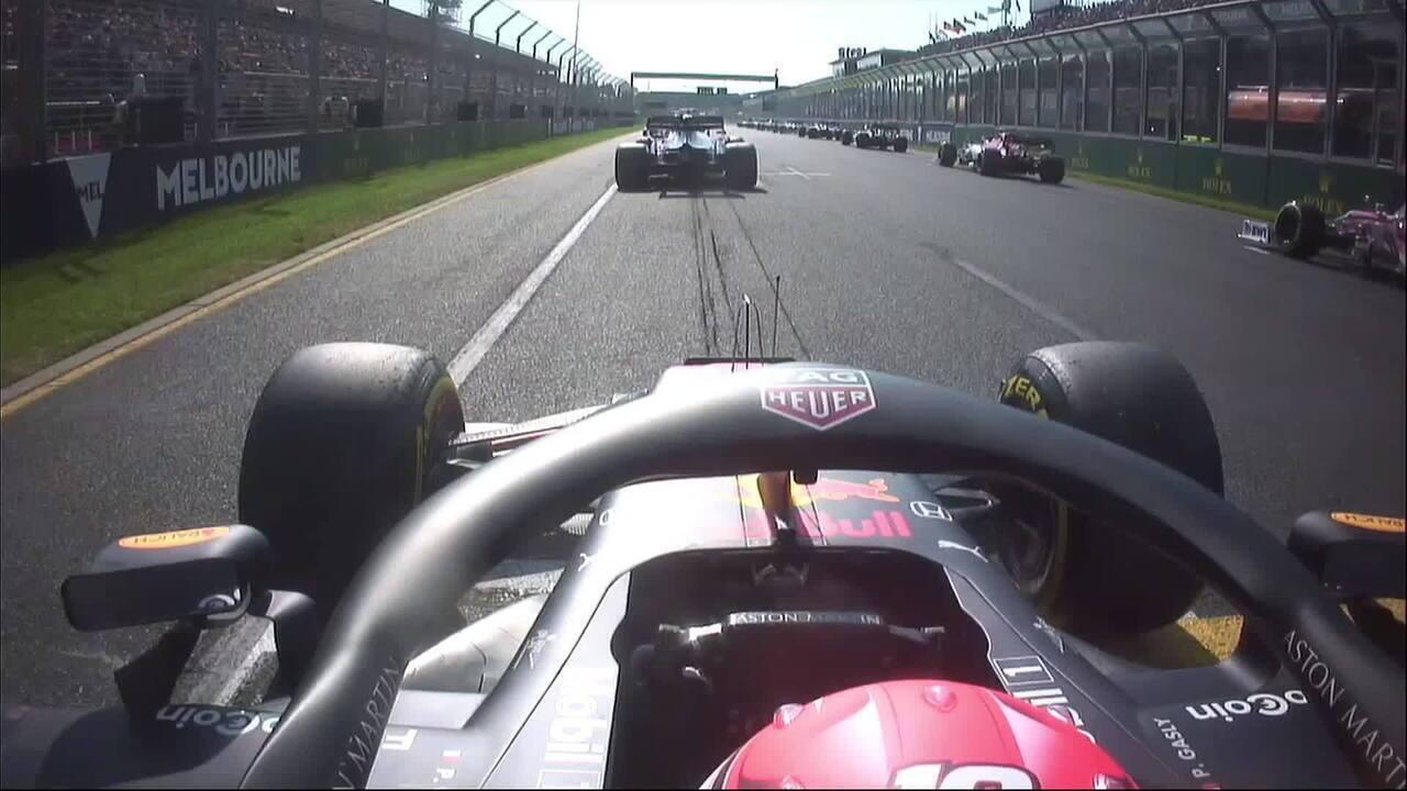 Replay da câmera onboard de Pierre Gasly na largada do GP da Austrália