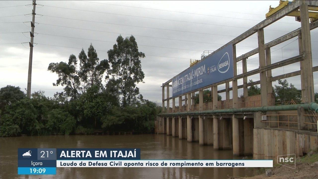 Relatório da Defesa Civil aponta risco de rompimento em barragens de Itajaí