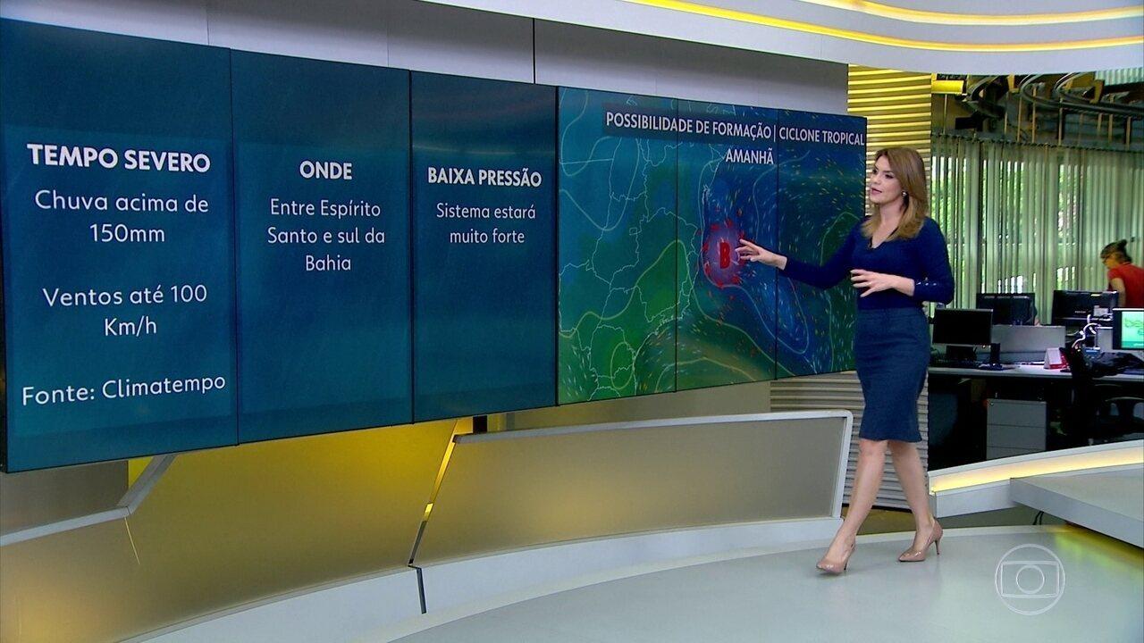 Meteorologistas monitoram se haverá formação de ciclone entre ES e BA