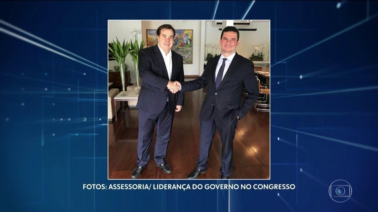 Sergio Moro e Rodrigo Maia se reúnem para tratar do pacote anticrime.