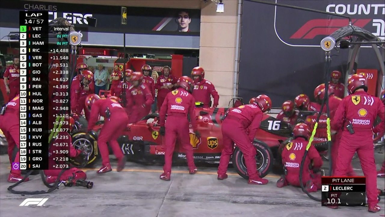 Leclerc e Hamilton fazem pit stop