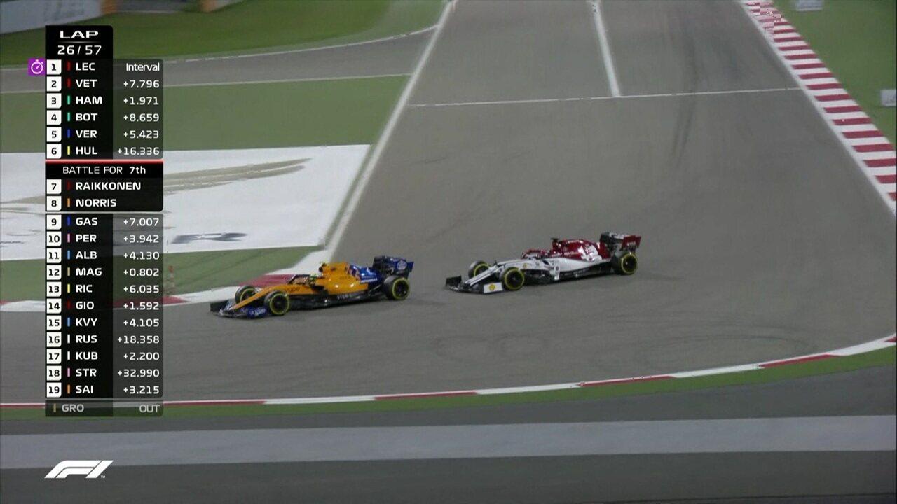 Norris ultrapassa Raikkonen no GP do Barein