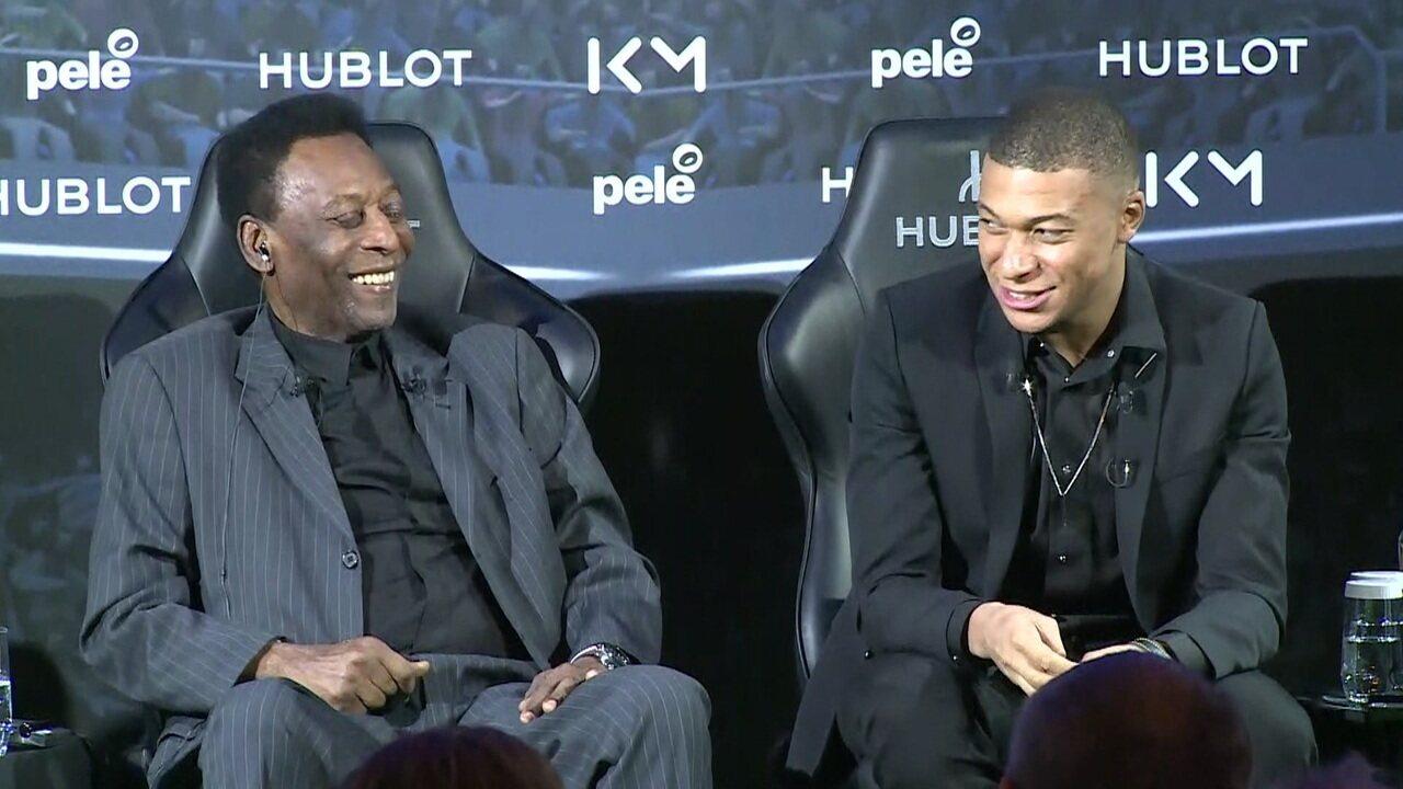 Pelé encontra Mbappé em Paris, brinca e diverte craque francês