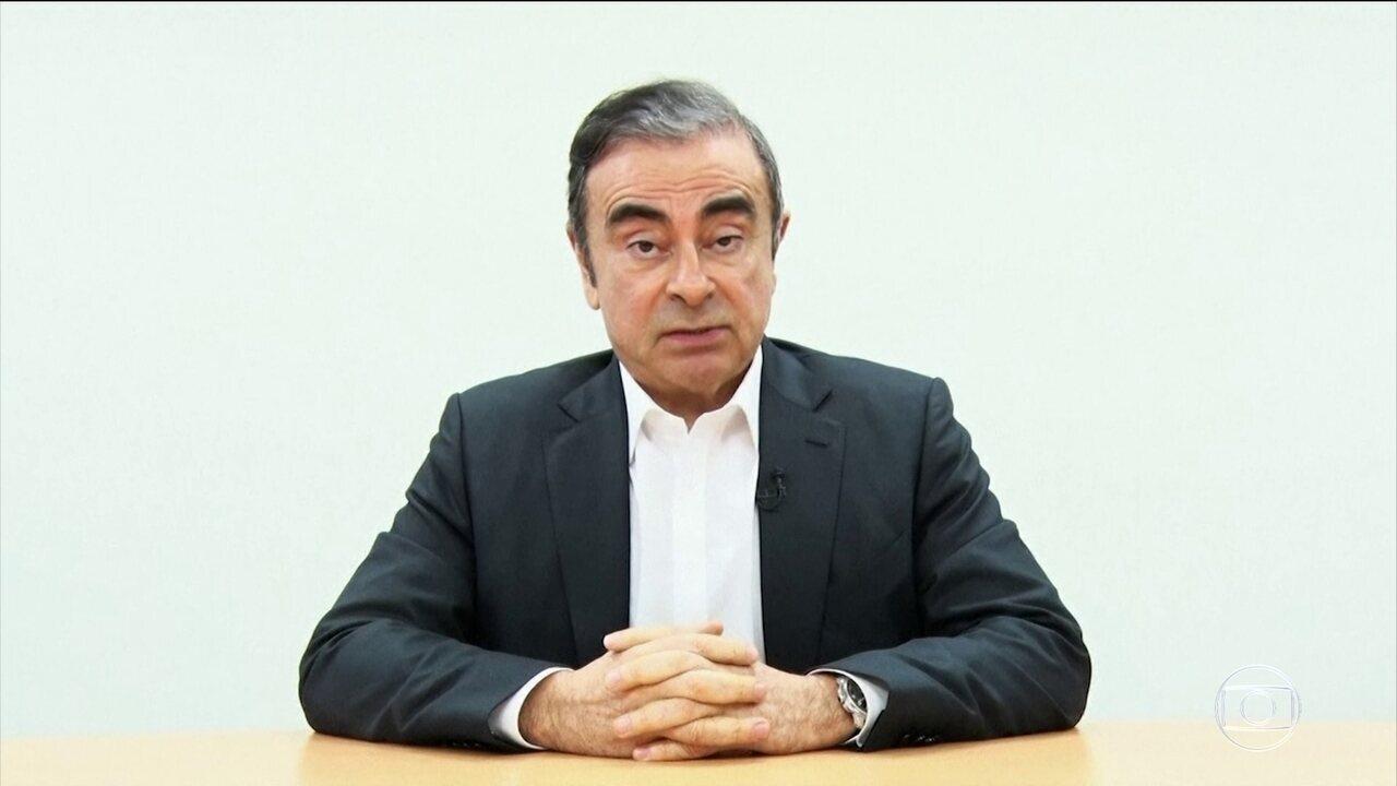 Executivo brasileiro Carlos Ghosn gravou vídeo em que se diz vítima de complô