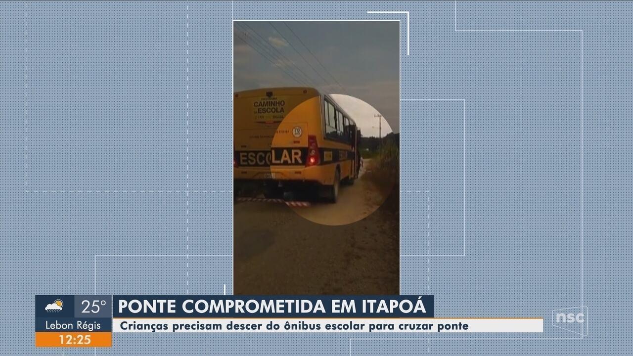 Ponte em Itapoá está com problemas na estrutura e oferece riscos à crianças
