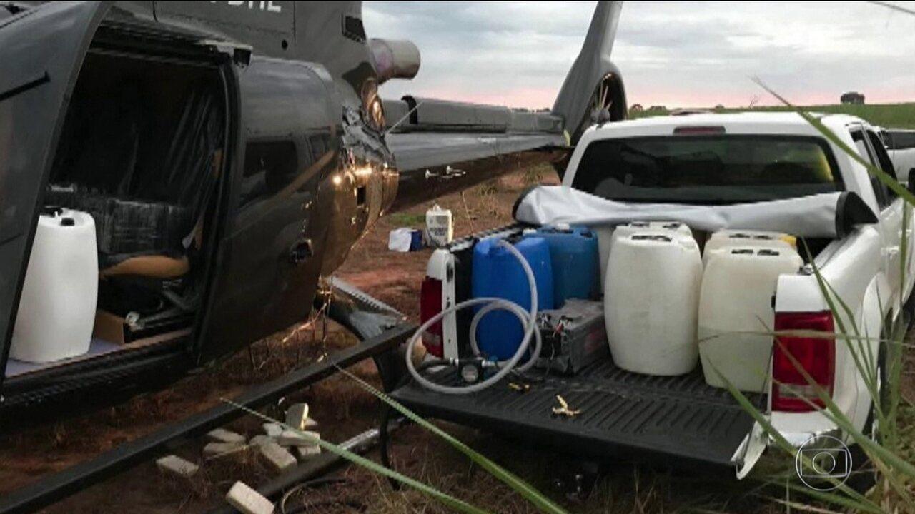 PF apreende helicóptero com meia tonelada de cocaína no interior de SP