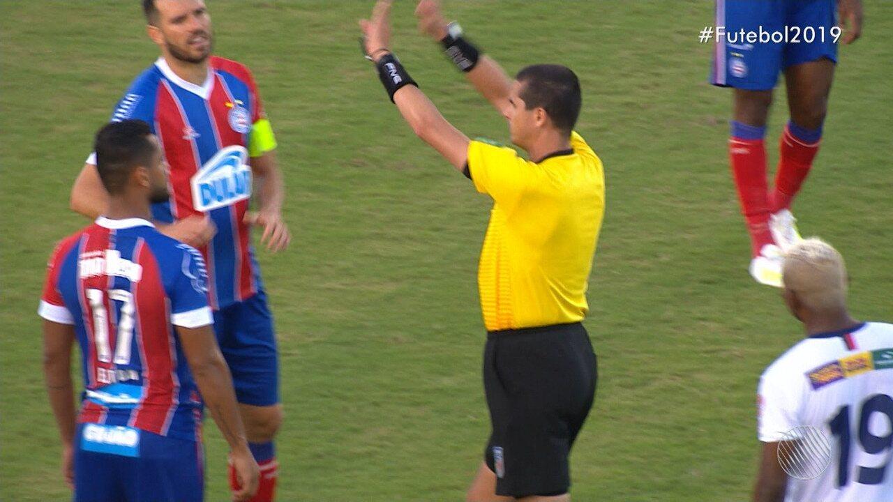 09': Arbitragem de vídeo anula gol do Bahia de Feira por conta de impedimento na jogada