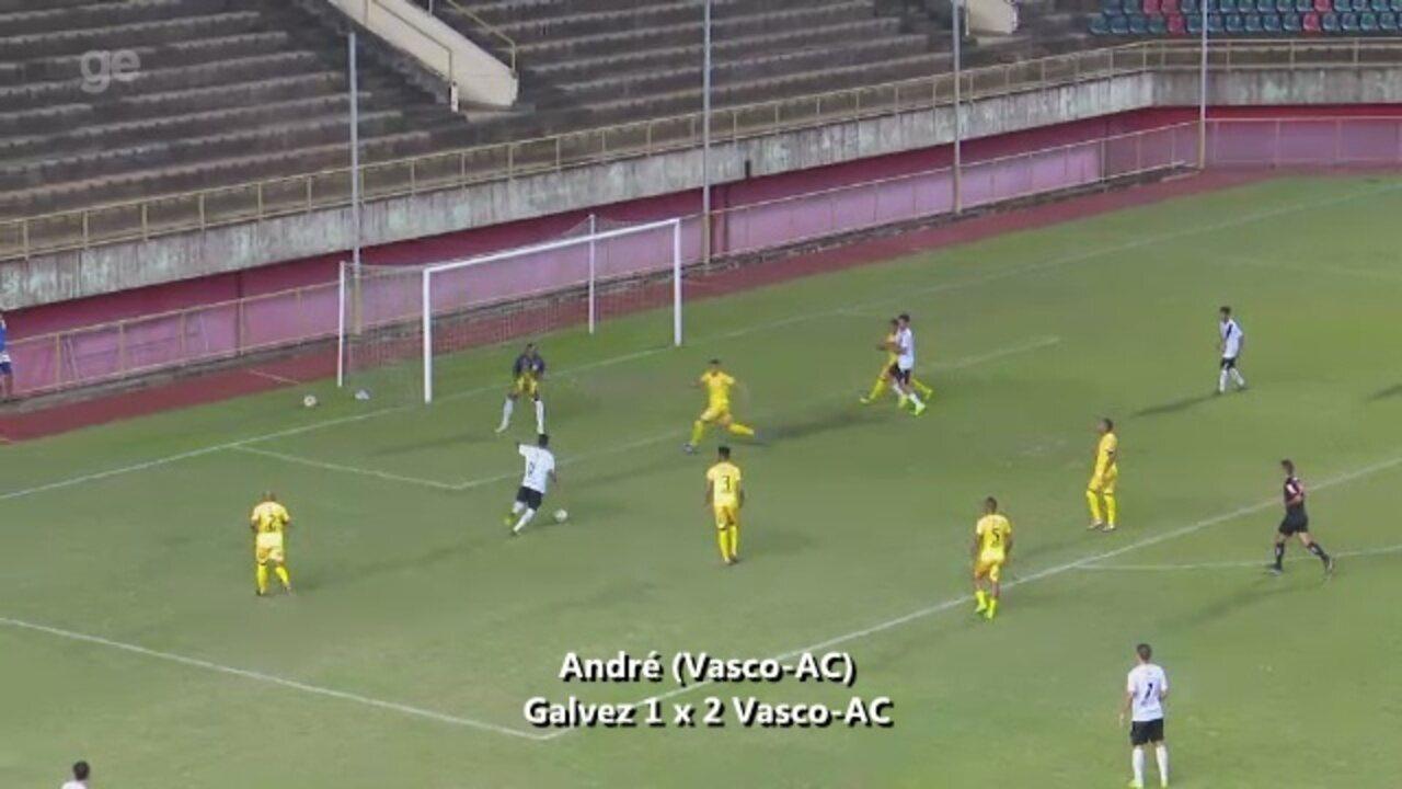 André se livra do zagueiro e para para o Vasco-AC na vitória sobre o Galvez