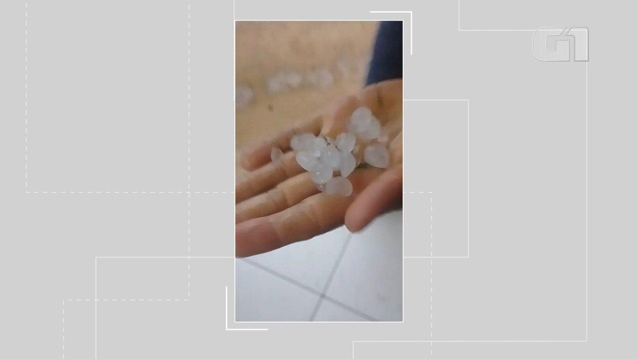 Internautas registram chuva de granizo no interior do estado