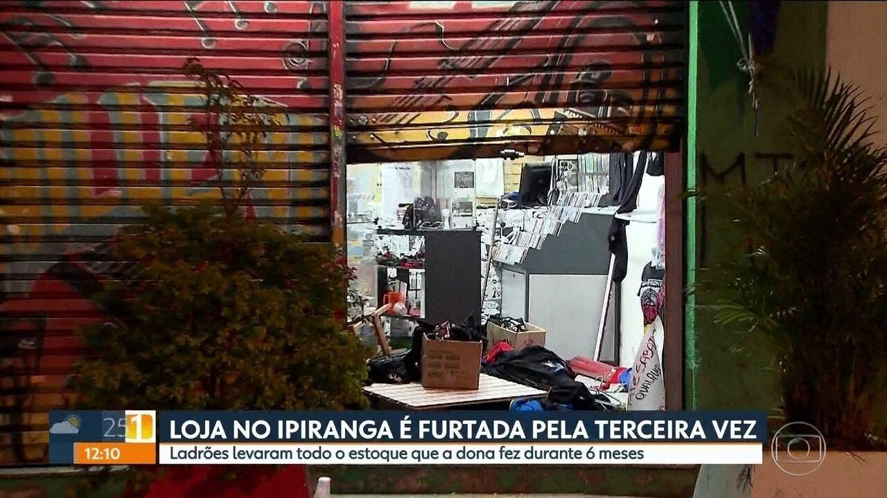 Loja é furtada pela terceira vez em uma semana no Ipiranga