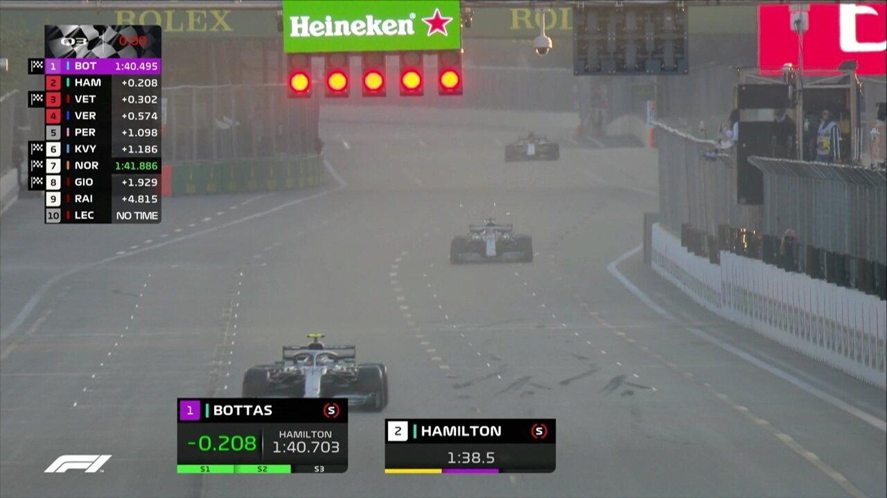 Bottas consegue pole em volta muito disputada com Vettel e Hamilton e larga na frente no GP do Azerbaijão