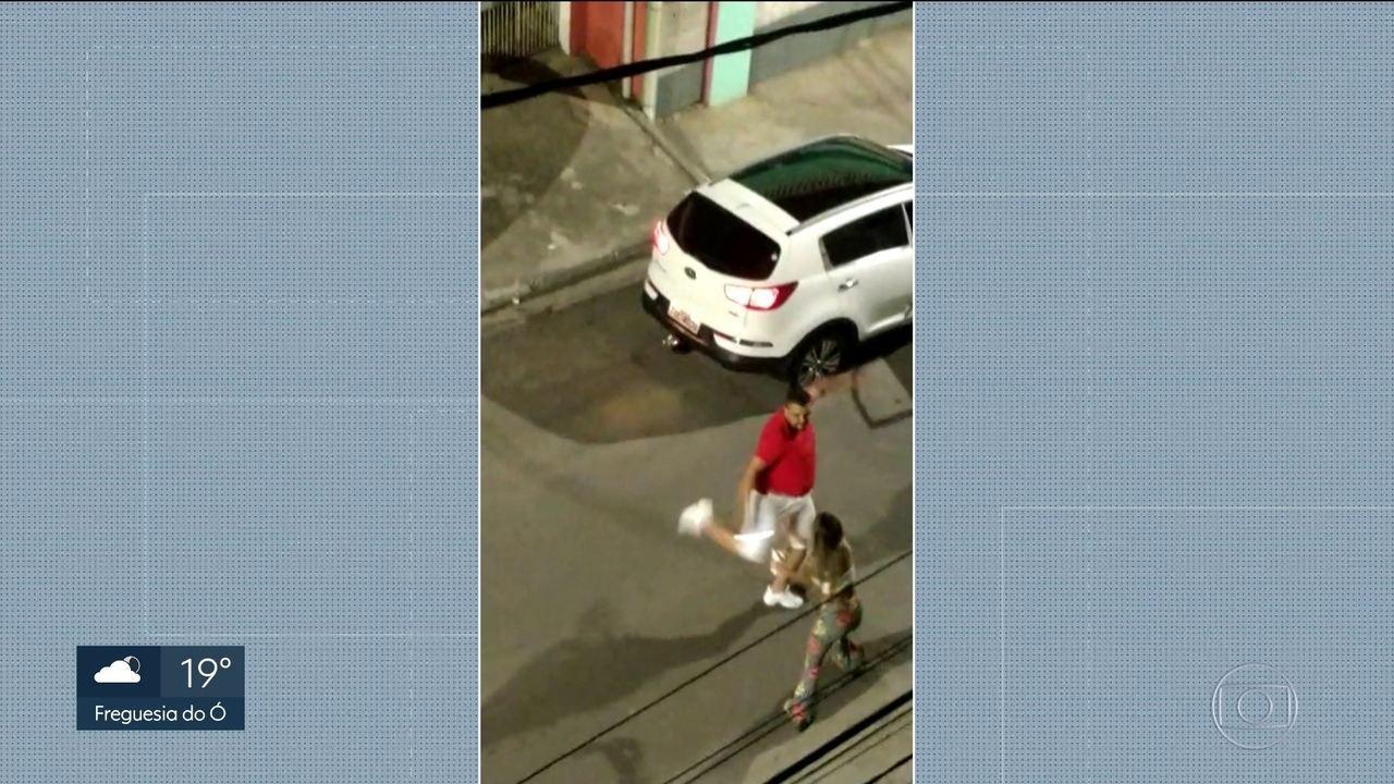 A Polícia investiga crime de lesão corporal imagens de celular flagraram a agressão
