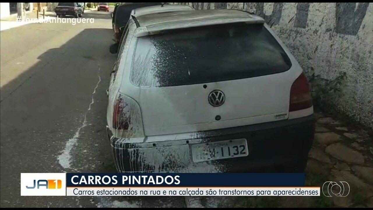 Carros são pintados no lugar de meio-fio em Aparecida de Goiânia