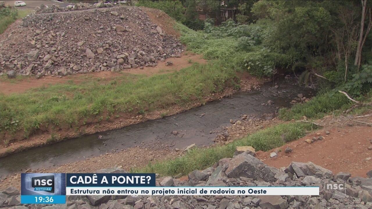 Sem ponte, rodovia estadual segue sem data de inauguração no Oeste de SC