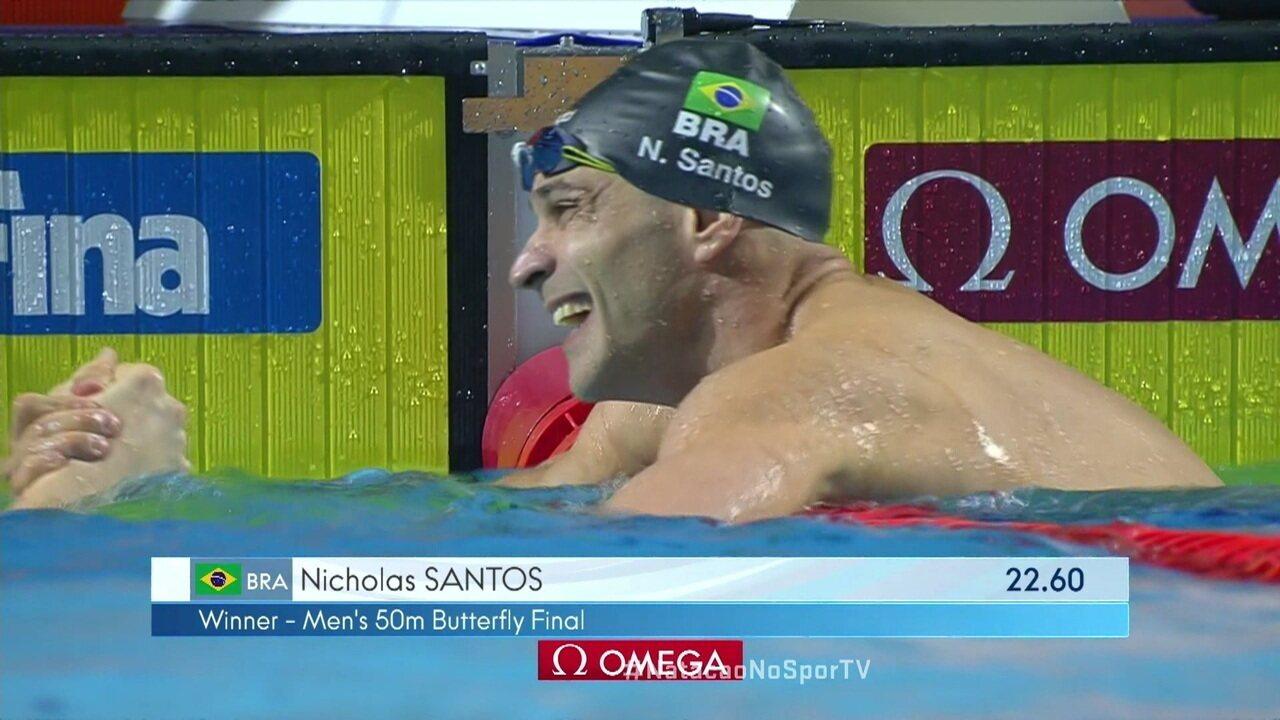 Nicholas Santos vence nos 50 m Borboleta na Copa dos Campeões
