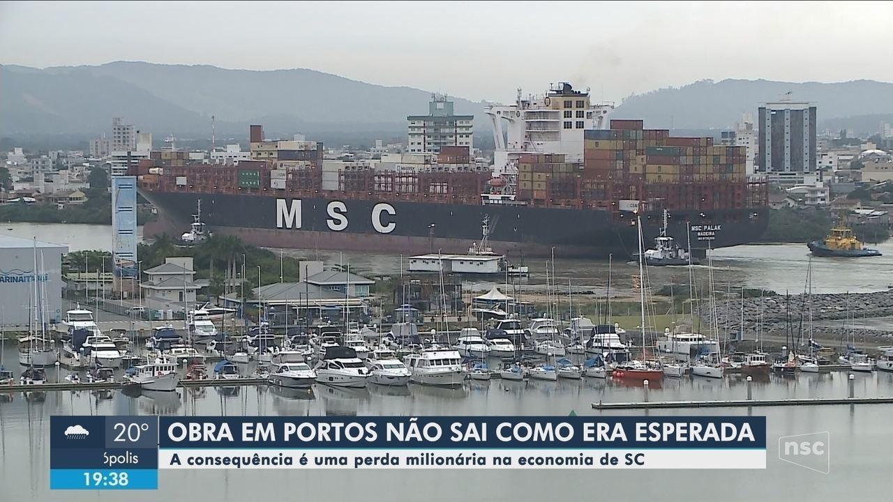 Obra da bacia de evolução dos Portos de Itajaí e Navegantes não atinge tamanho esperado