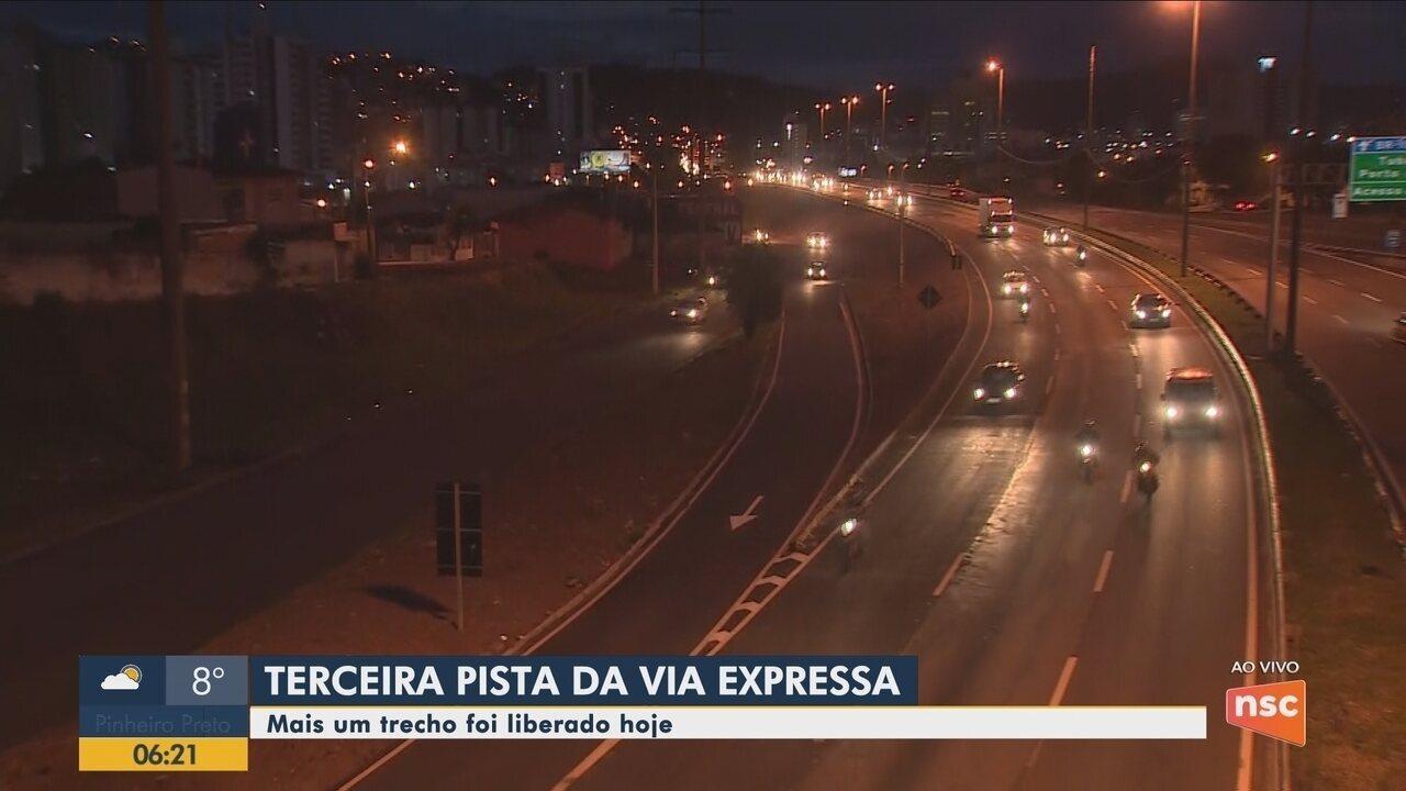Trecho da 3ª faixa da Via Expressa é liberado em Florianópolis