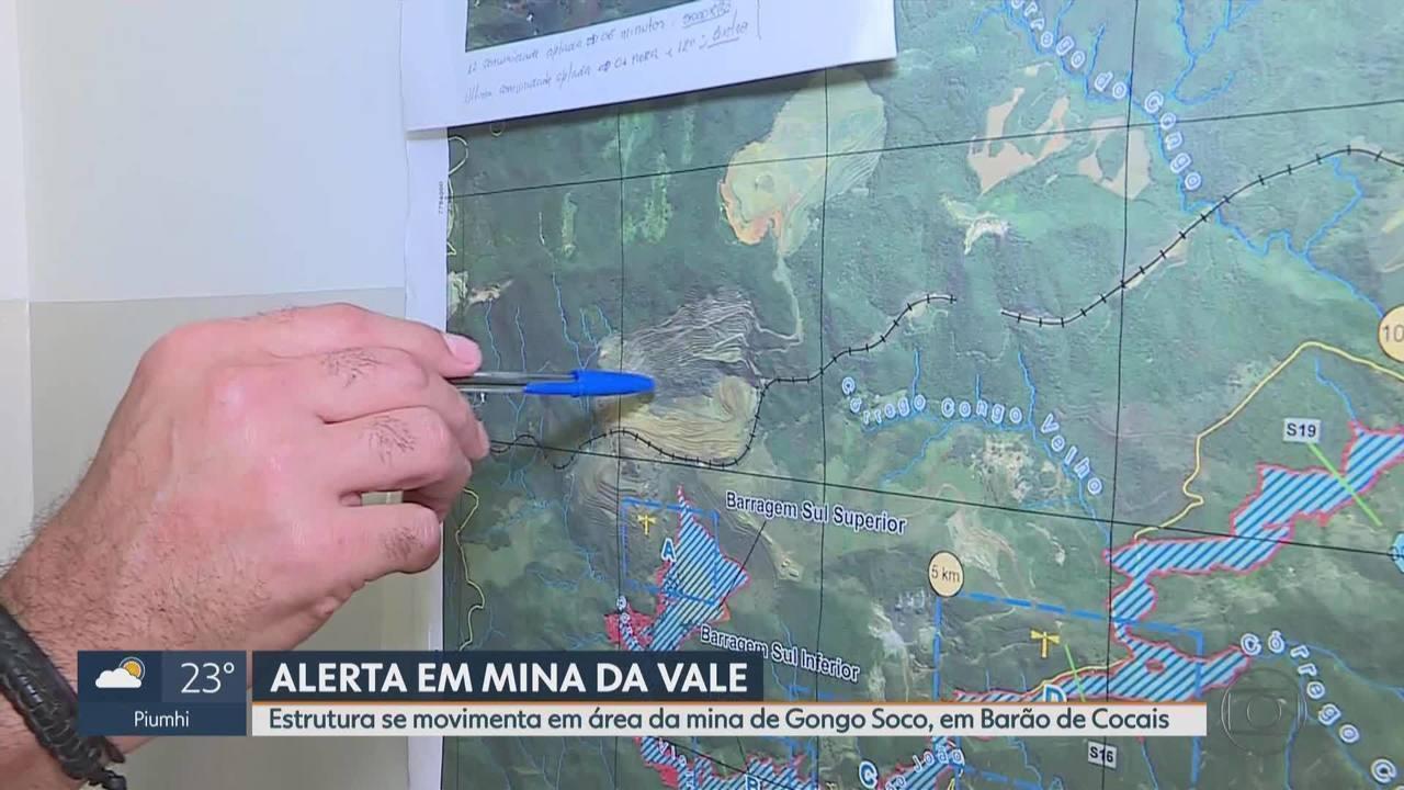Estrutura se movimenta em área da mina de Gongo Soco, em Barão de Cocais