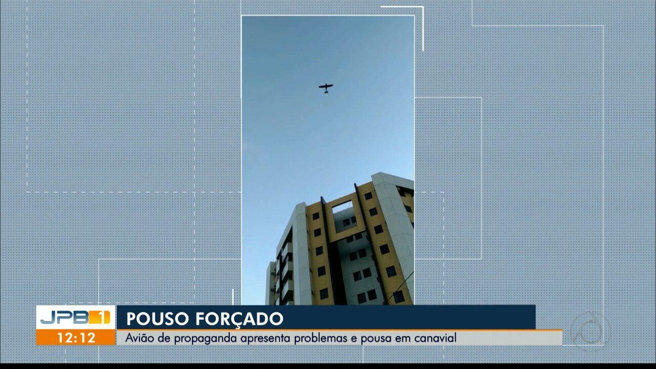 Avião que fazia publicidade para um circo faz pouso de emergência em Santa Rita