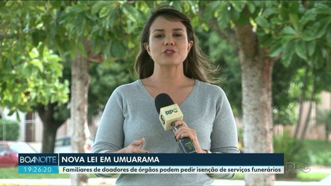 Familiares de doadores de órgãos podem pedir isenção de taxas funerárias em Umuarama