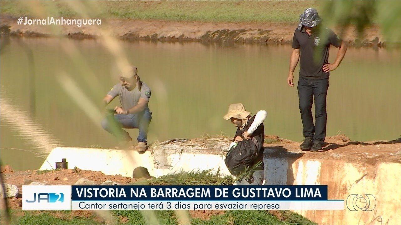 Polícia dá prazo de 3 dias para que represa na fazenda de Gusttavo Lima seja esvaziada