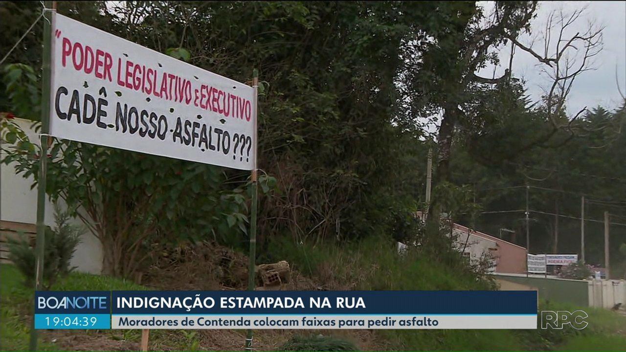 Moradores de bairro em Contenda protestam contra rua sem asfalto