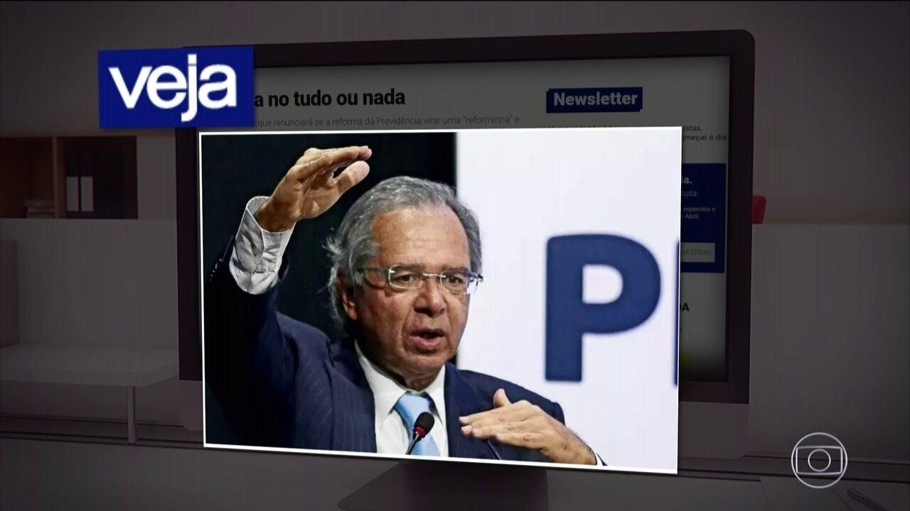'Se só eu quero a reforma, vou embora para casa', diz Paulo Guedes sobre Previdência