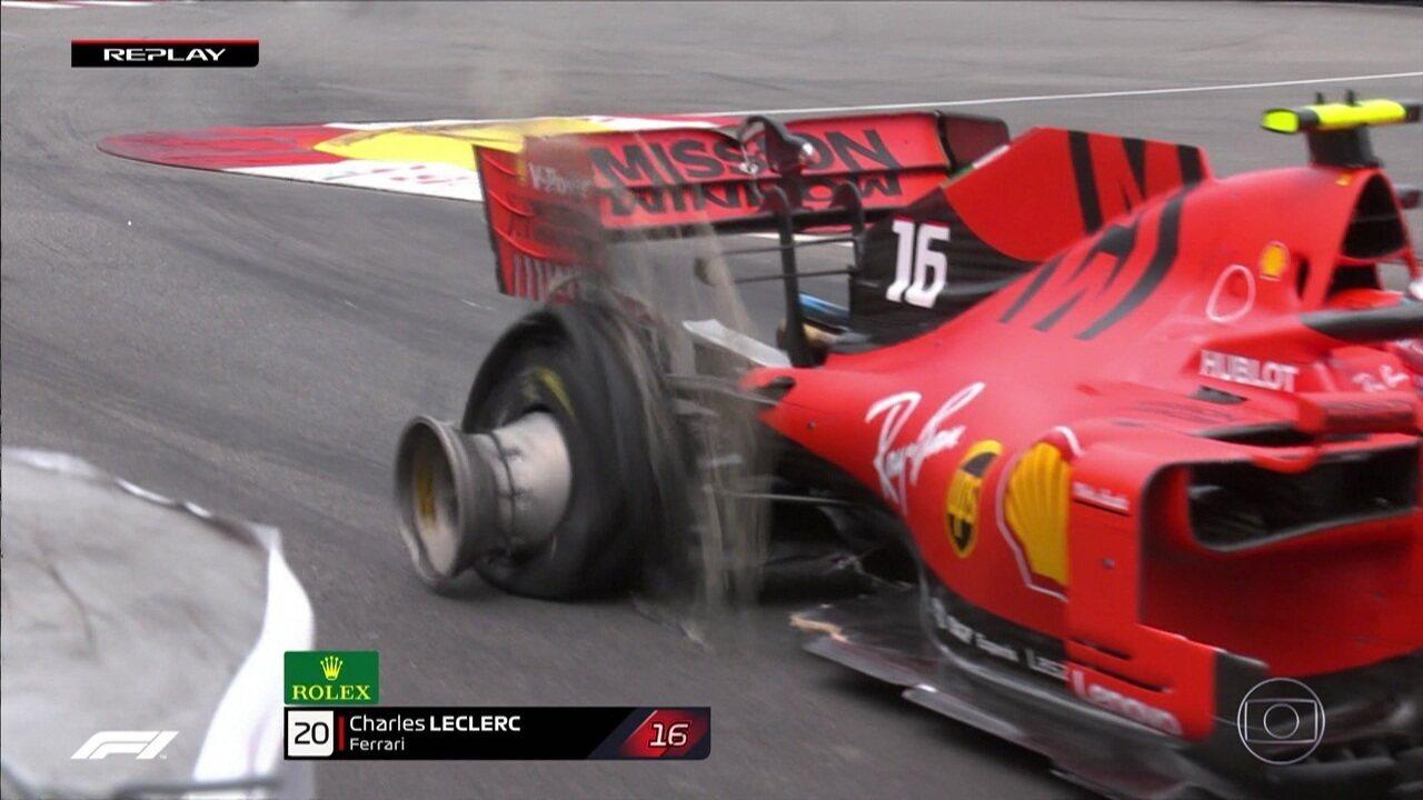 Safety car na pista e detalhe do pneu destruido de Leclerc