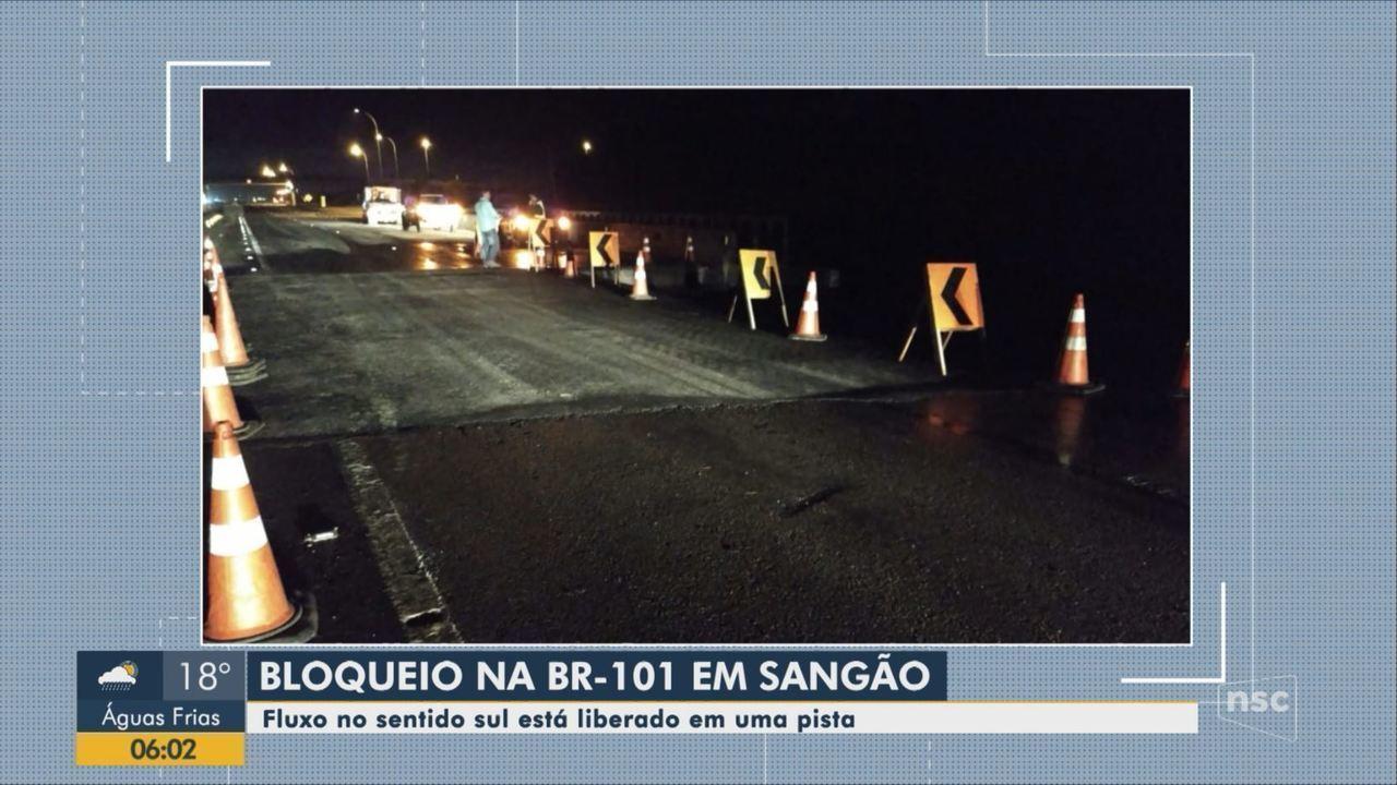 Chuva causa bloqueios em rodovias de SC