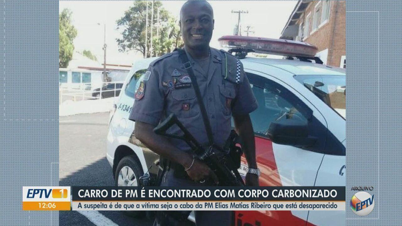 Carro de PM é encontrado com corpo carbonizado entre Araraquara e Américo Brasiliense