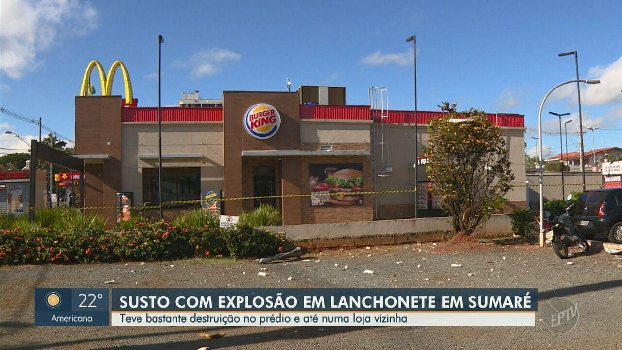Explosão danifica duas lojas de fast food em Sumaré