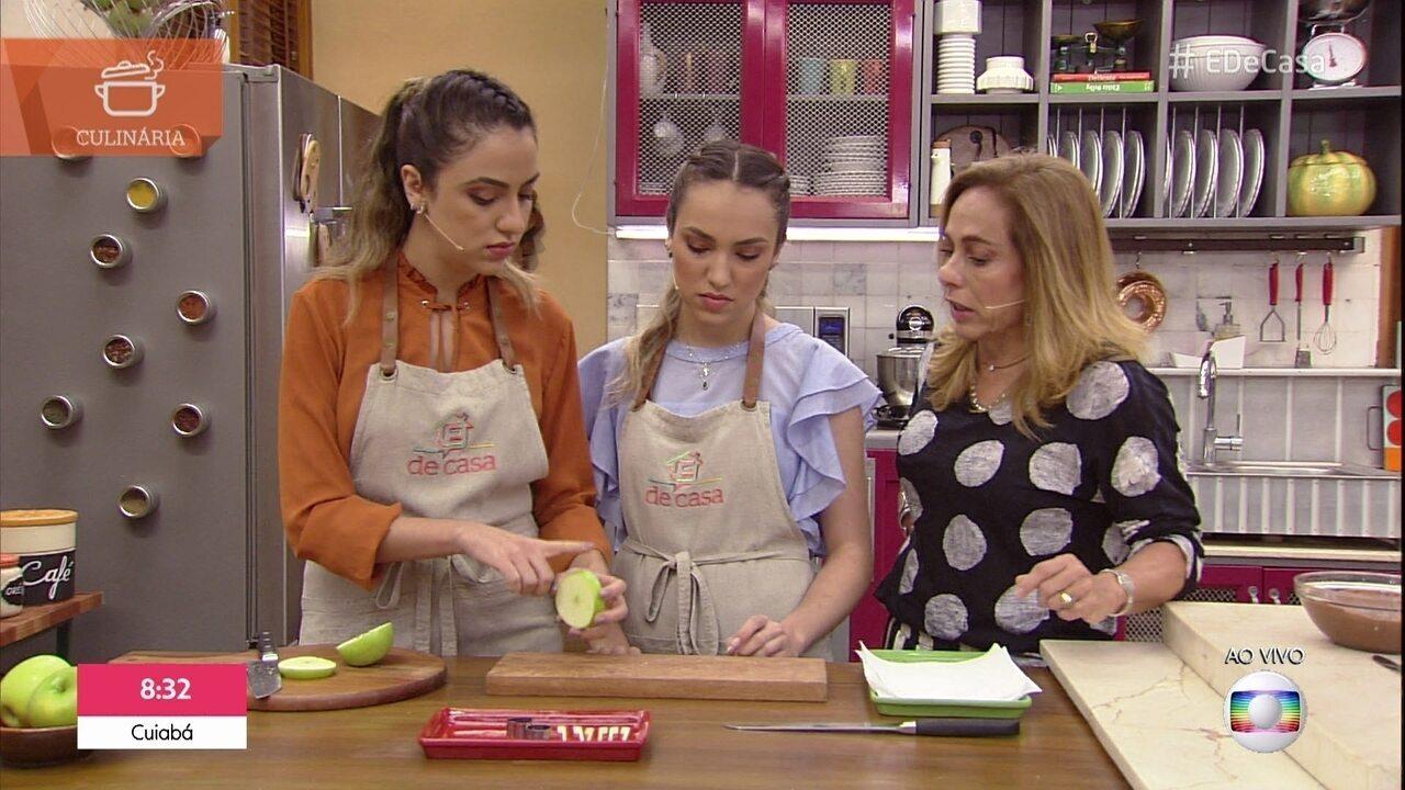 Irmãs ensinam a fazer maçã do amor moderna
