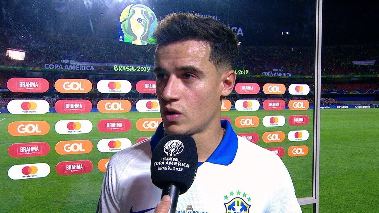 Artilheiro da noite, Philippe Coutinho enaltece postura de Tite no vestiário da Seleção diante da Bolívia